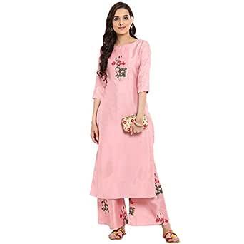 ZIYAA Women's Straight kurta with Palazzo (ZIKUPS2360ANDPL-S_Pink_Small)