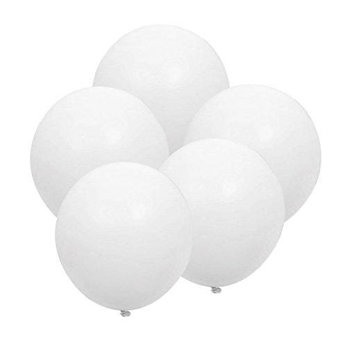 Prettyia 5 x Durchmesser 36 Zoll, Riese Luftballon Latex riesige Ballon rund gross Dekoration für Hochzeit Geburtstag Taufe Babyparty Kinder Party Festival - Weiß, 36 Zoll