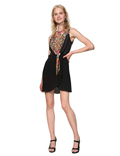 Desigual Dress Sleeveless Vilma Woman Black Vestido, (Negro 2000), 44 para Mujer
