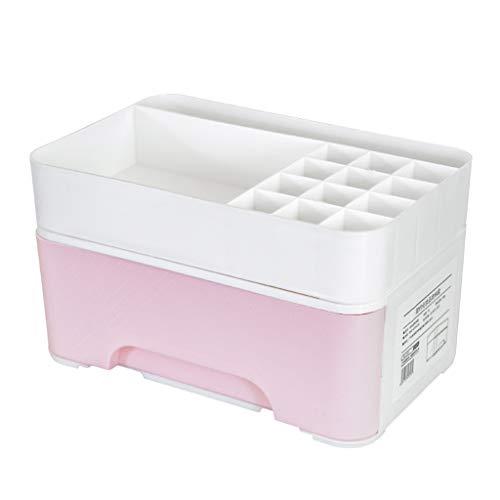 KKY-ENTER Type de tiroir Boîte de rangement pour cosmétiques Chambre de dortoir Coiffeuse Bureau Rouge à lèvres Produits de soin de la peau Brosse de maquillage Boîte de finition (Couleur : Pink)