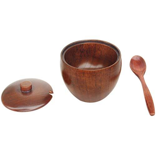 JOOFFF Gewürzglas mit Deckel und Löffel, Holz, Gewürzdose, Gewürzdose, Schüssel, Salz Behälter, Küchenzubehör mit Deckel und Löffel, Universal-Küchenwerkzeug (Deckel Salz Schüssel Mit)