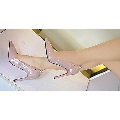 Moda donna sexy sandali scarpe da donna in pelle di brevetto estate tacchi tacchi Casual Stiletto Heel altri nero / rosa / viola / rosso / grigio Purple