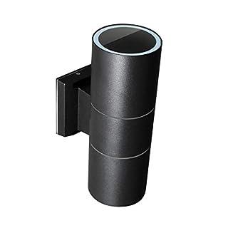 MAXKOMFORT Wandlampe Wandleuchte Wandstrahler Außenleuchte Schwarz Anthrazit IP44 mit 2 x LED 5W warmweiß (1258-95MB)