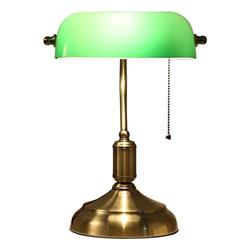 Lesetischlampe, Lampenschirm aus Glas, traditionelles antikes Messing und grüne Banker Schreibtisch-Lesetischlampe (ohne Glühbirne) -