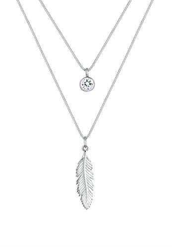 Elli Damen-Kette mit Anhänger Boho Feder 925 Silber Kristall weiß Brillantschliff 45 cm - 0109660216_45