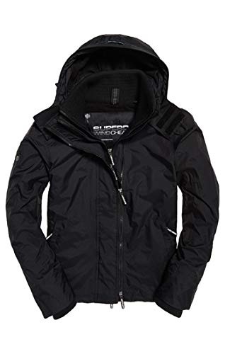 Superdry Men's Arctic Hooded Pop Zip Windchea Sports Jacket, Black 16a, Large