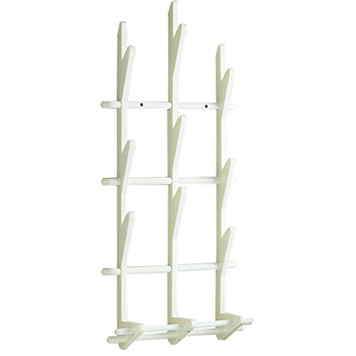 Skc Lighting-Coat étagère Murale Manteau Chapeau Rack Porte Mural Bois Simple Cintre Creative Chapeau Cravate avec Support (Blanc, Couleur Noyer)