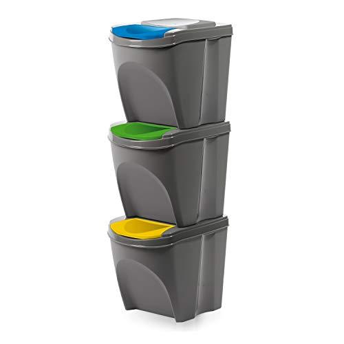 Prosperplast - Cubo de basura con compartimentos 3 x 20 l, color gris