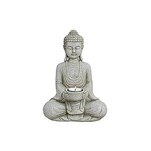 WOMA Deko Buddha Figur mit Teelichthalter, Dekoration für Haus Wohnung und Garten, 27cm hoch, Wetterfeste Skulptur aus Polyresin, Grau