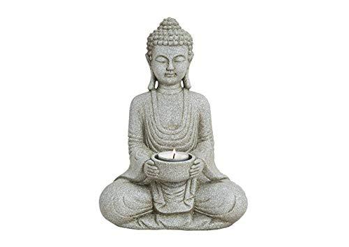 ur mit Teelichthalter, Dekoration für Haus Wohnung und Garten, 27cm hoch, Wetterfeste Skulptur aus Polyresin, Grau ()