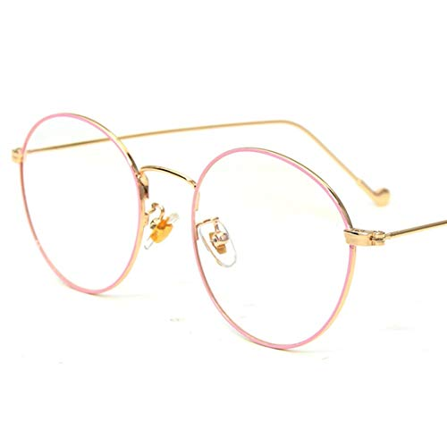 Zebuakuade Retro Runde Brille Frame Clear Lens Glasses Brillen ohne Rezept für Damen, Männer (Color : Pink)