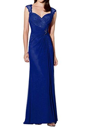 Milano Bride Glamour Herzausschnitt Chiffon Abendkleider Ballkleider Formel Damenmode mit Breiten Traeger Lang Royal Blau