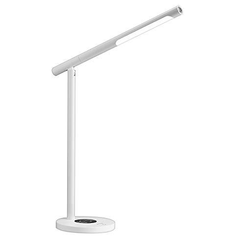 RongYooo LED-Schreibtischlampe mit kabelloser Lade- und USB-Ladeanschluss, Multifunktions-Tischlampe, keine Stroboscopic Eye-Care Tischlampe