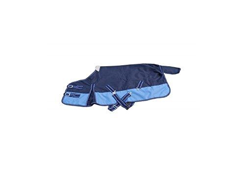 Coperta per cavallo, impermeabile, 600 denari, fodera in pile, blu marino/celeste, 125cm