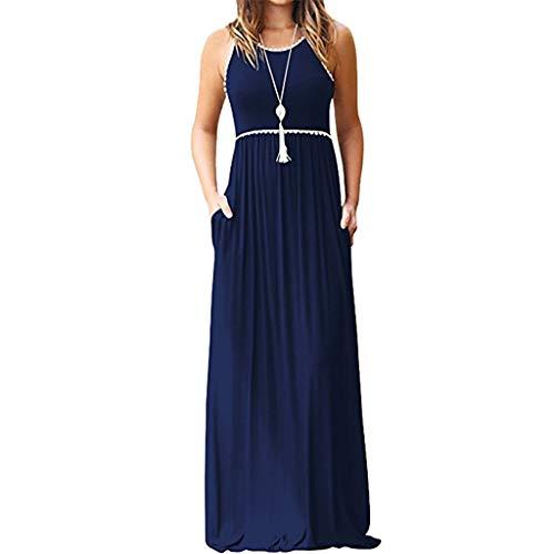 BHYDRY Frauen Rundhals Spitze ärmellose Maxi Kleider Casual langes Kleid mit Tasche - Maxi-kleider Für Blau Frauen Licht
