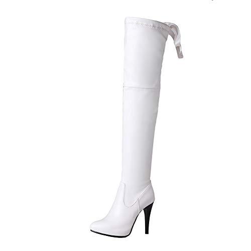 Y2Y Studio Cuissardes Femmes Bottes Longues Talons Aiguilles Hautes 10cm Sexy Bout Pointu Fashion Couleur Blanc-Beige-Noir-Gris sans Plateforme Hiver