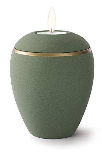 Keramik Kerzenhalter Verbrennung Asche Urne–Olive Grün