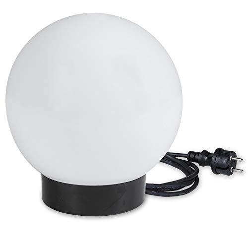 Kugelleuchte 15 cm Ø | weiße Gartenlampe, Außenleuchte, schöne Deko für Innen & Außen, Gartenbeleuchtung, Gartenkugel für Energiesparlampen E27 & LED - 230 V & 11W, Kugellampe mit IP44, 2 m Kabel