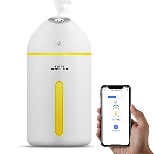 Meross Smart Aroma Diffuser Luftbefeuchter, USB Ultraschall Humidifier, 8H Arbeitszeit, Nachtlicht, für Wohnung, Büro und Auto,320ML und weiß, kompatibel mit Alexa, Google Assistant und IFTTT (Google Weiß)