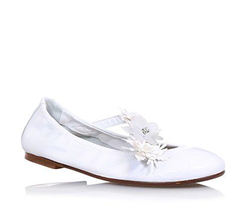 ELI - Ballerina bianca in pelle, prodotta artigianalmente in Spagna, adatta per le occasioni di cerimonia, Bambina, Ragazza, Donna-35
