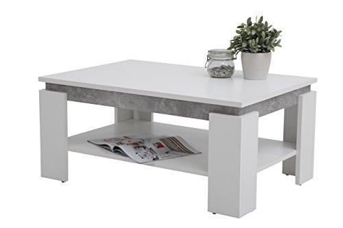 Couchtisch Tim II, Holzwerkstoff, weiß/beton, 90x60x41 cm
