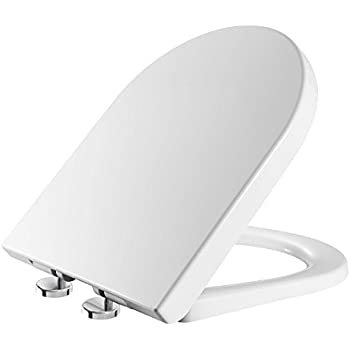 soft touch toilet seat. Toilet Seat Soft Close Quick Release D Shaped White  UF Urea Formaldehyde Material Dual Fixing System Roca Dama Senso Replacement WC with Closing