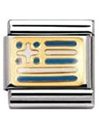 Nomination Composable Classic Flags of Europe Norway Stainless Steel, Enamel and 18K Gold