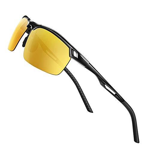 Glazata Polarisierte Sonnenbrille Herren Auto Sonnenbrille mit UV400 Schutz und Aluminium-Magnesium-Bügeln inkl Brille für Golf Ski Angel alle Outdoor-Aktivitäten (Gelb)