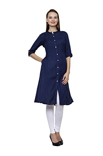 Pistaa women's Cotton Readymade Navy Blue Kurta and Milky White Legging Set (Small)