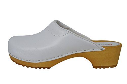 Buxa Unisex Holz und Leder Clogs mit Polsterung Weiß