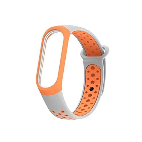 ZDL-ZnSb-004Watches QW coloré Silicone Poignet Bracelet Bande for Xiaomi Mi Band 3 & 4 (Gris Noir) ZDL-ZnSb-004Watches (Couleur : Orange)