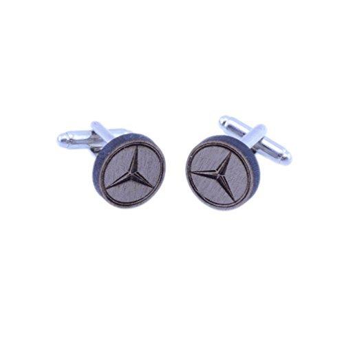 Mercedes Benz Anstecker Manschettenknöpfe - handgemacht Lasergeschnitten Walnussholz Geschenk - Mercedes Benz