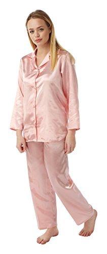 Damen Satin Seide Pyjama Set Langärmlig Silky Sommer Pyjama Pfirsich