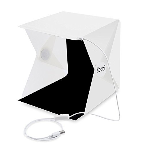 Lichtzelt mit Beleuchtung, Zecti Mini Fotozelt mit Beleuchtung 24x22x24cm mit 2 Hintergründen (Weiß,Schwarz)