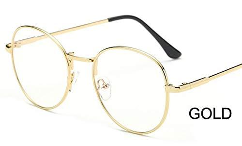 FUZHISI Sonnenbrillen Computer Runde Brille Frauen Strahlen Strahlung Brillenfassungen Metall Unisex Anti Blue Light Brille Männer Optisch, Gold