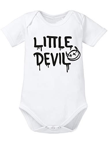 taltextil-shop clothinx Baby Body Bio Halloween Little Devil Weiß/Schwarz Größe (Little Devil Kostüm Mädchen)