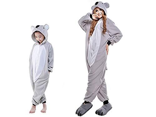 Kostüm Koala Kind - ABYED® Einhorn Kostüm Jumpsuit Onesie Tier Fasching Karneval Halloween kostüm Damen mädchen Herren Kinder Unisex Cosplay Schlafanzug, Koala, Größe 85 - für Höhe 95-105 cm (3-4 Jahre)