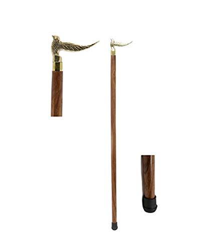 Irish Walking Stick (india.nautical.handicraft Handcrafted Canes and Walking Sticks-36 Inch Sitting Bird Brass Handle Walking Stick - Inspired by Irish Walking Stick)
