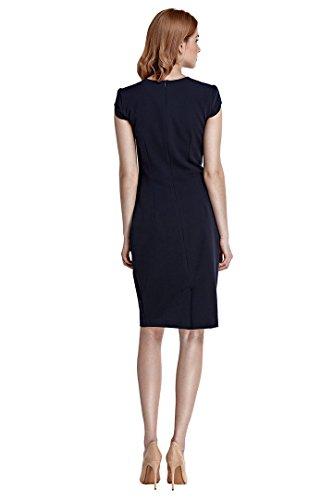 nife – Etuikleid mit kurzen Ärmeln Kurzarm Knielang Bleistift-Kleid Pencilkleid Büro Office Beige