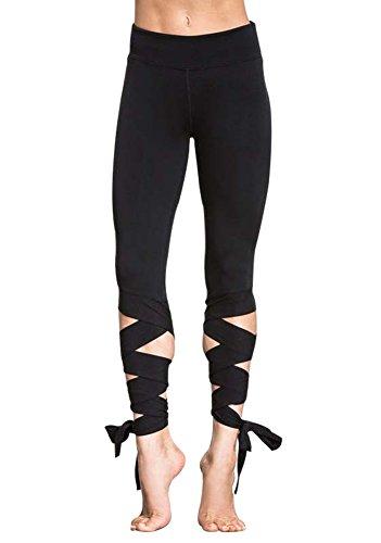 Minetom Sommer- Yoga Sport Jogging Hose Damen Jogging Anzug Sporthose Leggings Trainings Trainingsanzug Fitness Hohle Bandage Kreuz Schwarz EU L (Stretch-große Loch-fischnetz-strumpfhose)