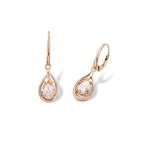 Amor Damen-Ohrhänger 3,2 cm 925 Sterling Silber rosévergoldet Zirkonia weiß morganite