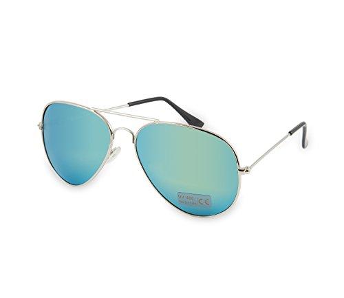 Damen Herren Sonnenbrillen Mode Pilot-Stil Rundgrün Spiegeln Linse Unisex MFAZ Morefaz Ltd
