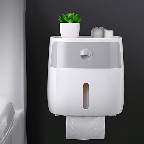 LNIMIKIY - Dispensador de Papel higiénico con Bandeja Impermeable para Montar en la Pared, Grey White, Tamaño Libre