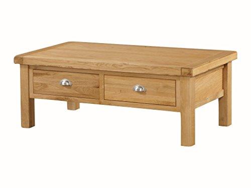 The One Newport Table Basse en chêne Massif L – chêne de Stockage de Table Basse avec tiroirs – Taille : L – Finition : Rustique en chêne Clair – Meuble de Salon