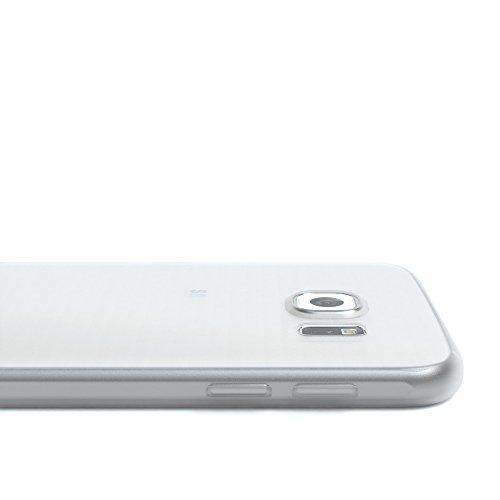 """EAZY CASE Handyhülle für Samsung Galaxy S6 Hülle - Premium Handy Schutzhülle Slimcover """"Clear"""" hochwertig und kratzfest - Transparentes Silikon Backcover in Klar / Durchsichtig Matt Transparent / Weiß"""