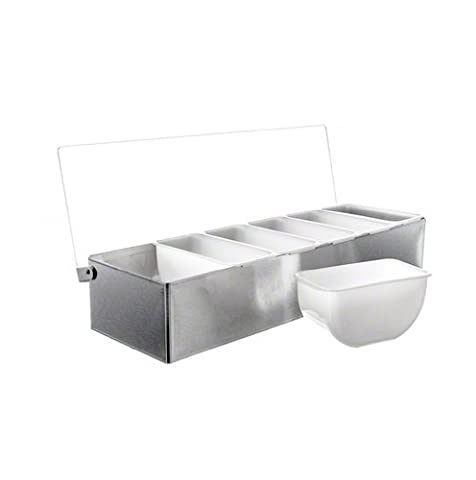 Tablecraft 1606 Stainless Steel 6-Compartment Condiment Holder with Polycarbonate Lid, 6-Pint