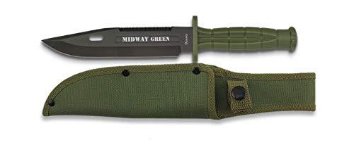 Albainox - 32286 - Cuchillo Supervivencia Midway Green. H: 18cm - Herramienta para Caza, Pesca, Camping, Outdoor, Supervivencia y Bushcraft