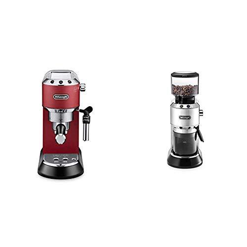 De'Longhi Dedica EC 685.R Espresso Siebträgermaschine | 15 bar |  Professionelle Milchschaum Düse| Füllmenge 1 l | Vollmetallgehäuse | Rot + KG 520.M Elektrische Kaffeemühle, silber