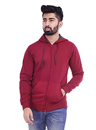 6TH AVENUE STREETWEAR Men's Hooded Sweatshirt - Maroon, Medium