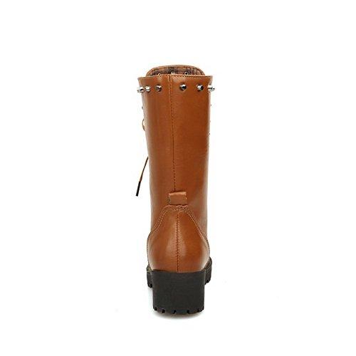 AllhqFashion Damen Mittler Absatz Blend-Materialien Mittler Kalb Rein Schnüren Stiefel, Grau, 42
